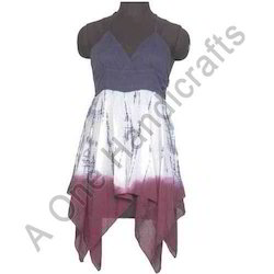 Short Hand Tie Dyed Cotton Fabric Dress