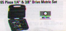 65 Piece 1/4 & 3/8 Drive Metric Set