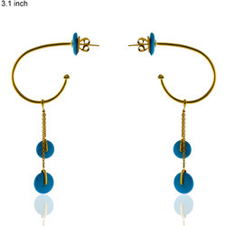 Gold Drop Gemstone Earrings