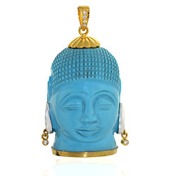 Lord Buddha Shaped Turquoise Pendant