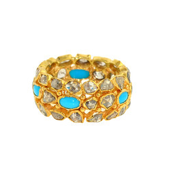 Diamond & Turquoise studded Gold Ring