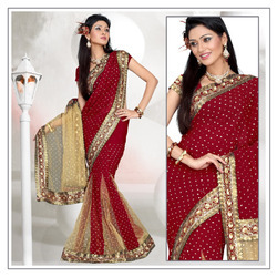 Salsa Red Faux Georgette Lehanga Saree With Blouse (192)
