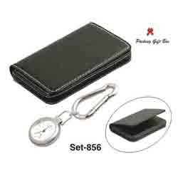 leather visiting card ring key chain