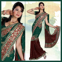 Maroon Viscose Saree With Blouse (138)
