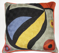 Crewel ChainStitch Pillow Rufus Multi Cotton