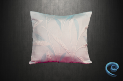 Light Blue Cushion Cover With Embossed Floral Patterns