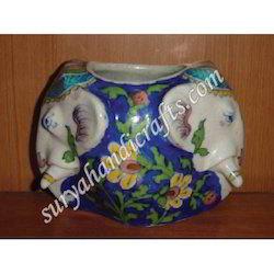 Blue Pottery Pot With Elephant