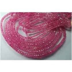 Pink Sapphire Faceted Rondelles Beads,Strand 14'''