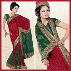Deep Green Viscose Lehenga Style Saree With Blouse (23)