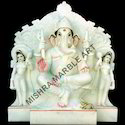 White Marble Ganesha with Riddhi