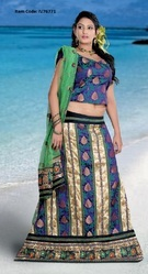 Alluring Beige Brown & Navy Blue Lehenga Choli