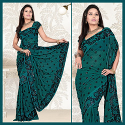 Turquoise Faux Georgette Saree With Blouse (132)