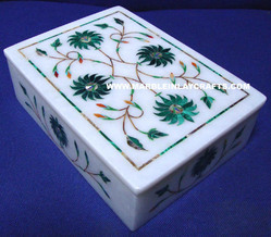 Gemstone Inlay Marble Box