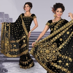 Atrous Black Faux Georgette Saree With Blouse