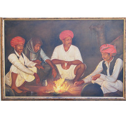 Rural Rajasthani Oil Painting