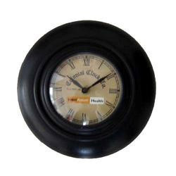 Black Wood Round Antique Clock