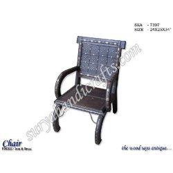 Wooden Brass Iron Chair