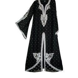 Black Kaftan With Silver Work