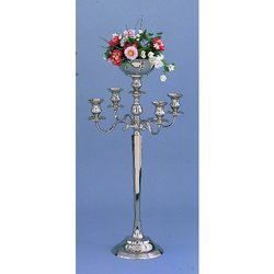 Silver Wedding 5 Light Candelabra with Floral Bowl