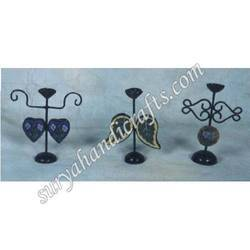 Iron Blue Pottery Candle Stand