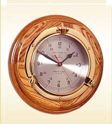 Porthole Clock On Wood Base