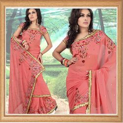 Candy Pink Faux Georgette Saree With Blouse