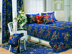 Crewel Bedding  Random FlowersRoyal Blue Cotton