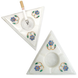 White Triangle Marble Ashtray