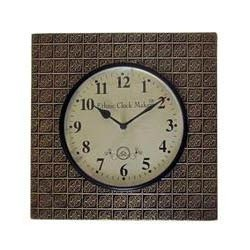 Wall Clock Brass Antique Square