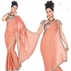 Peach Viscose Saree With Blouse