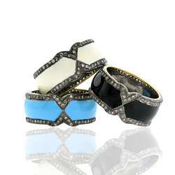 Enamel Diamond Rings