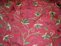 Crewel Fabric Ivy League Terracota Cotton Duck