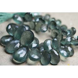 AAA Natural Blue Moss Aquamarine Faceted Pear Briolettes