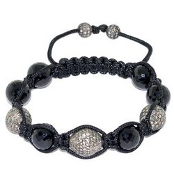 Diamond Pave Bead Gemstone Black Onyx Btacelets
