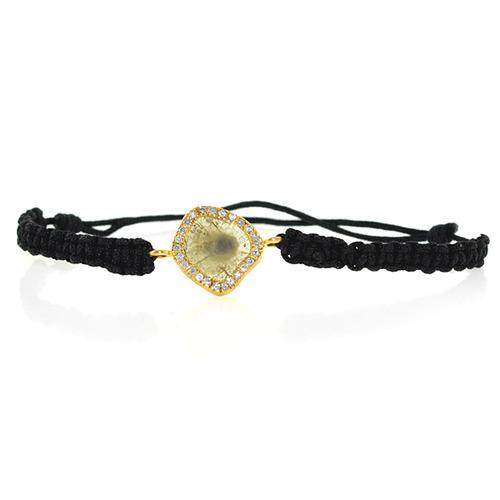 18k Gold Slice Diamond Macrame Bracelet