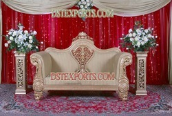 Muslim Wedding Golden Carved Love Seater