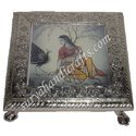 White Metal Lady Painted Chowki