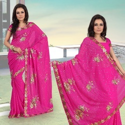 Magenta Faux Georgette Saree With Blouse