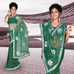 Dark Green Faux Georgette Saree With Blouse