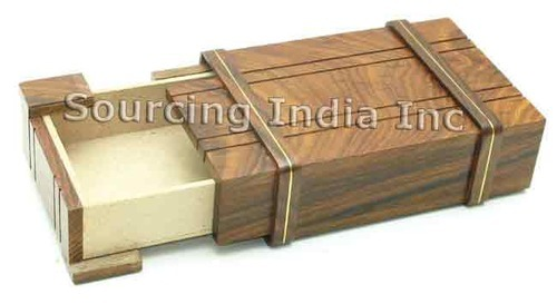 6 Big Wood Brass New Secret Compartment Jewelry Box