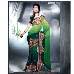 Green With Heavy Embroidery Designer Saree