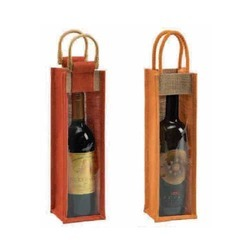 Jute Bottle Bag with Clear PVC