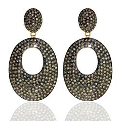 Pave Diamond Disc Dangle Earrings
