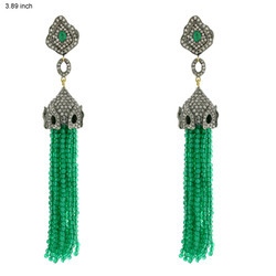 Precioue Gemstone Tassel Earrings