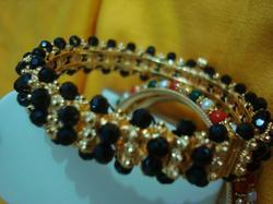 Bangle with Black  Crystal Stones