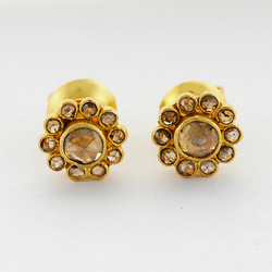 Diamond stud gold earring set