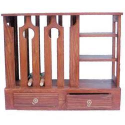 2 Drawers Wine Rack With Side Open Shelves