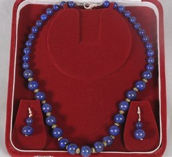 Lapis Lazuli Round Beads Necklace with Earings