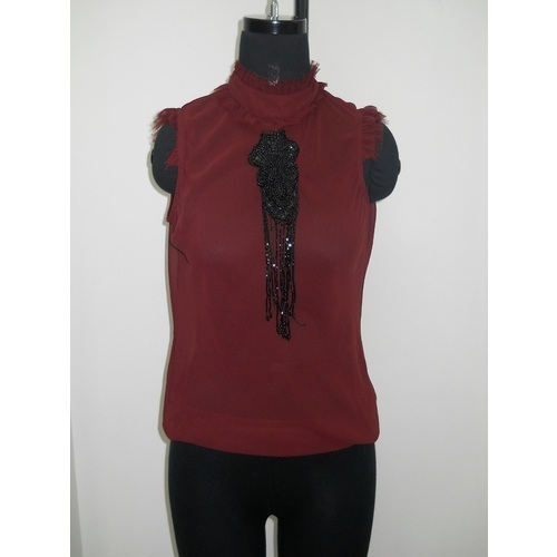 Stand Color Blouse Designs : Designer tops blouses stand collar