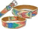 High Quility Hand Painting Two Layer Leather Dog Collar (L043C)